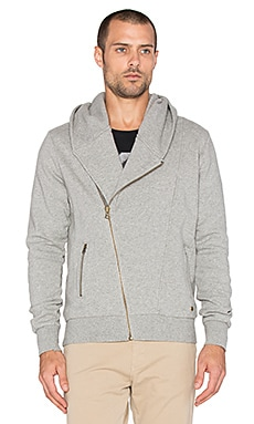 Scotch & Soda Biker Hooded Zip Sweater in Grey Melange