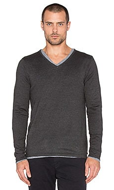 Scotch & Soda V-Neck Pullover with Inner Tee in Graphite