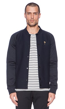 Scotch & Soda Knitted Bonded Neoprene Bomber in Night