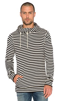 Scotch & Soda Home Alone Zip Twisted Hoody in White Black