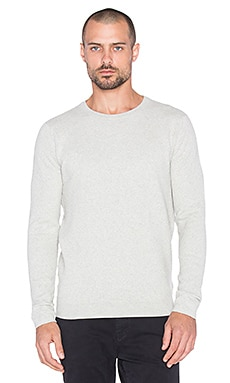 Scotch & Soda Crewneck Pull in Structured Cotton/Nylon Knit in Snow Melange