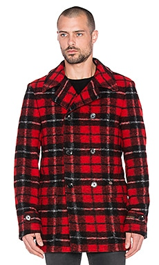 Scotch & Soda Double Breasted Long Caban Knitted Jacket in Red