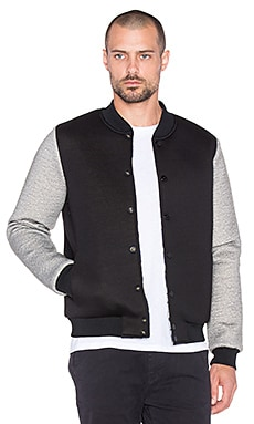 Scotch & Soda Reversible Bonded Neoprene Bomber in Black Grey