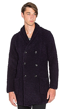 Scotch & Soda Long Shawl Collar Cardigan in Boucle Knit in Night