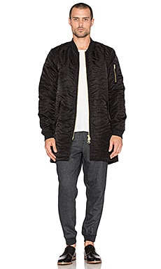 Scotch & Soda Quilted Long Bomber with Detachable Hood in Black