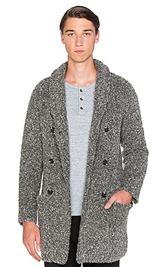 Scotch & Soda Long Shawl Collar Cardigan in Boucle Knit in Grey Melange