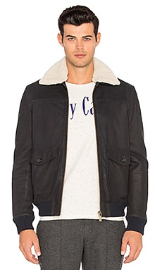 Leather Bomber Jacket with Faux Sherpa Lining
