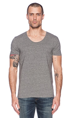 Scotch & Soda Classic Cotton Lycra Crewneck Tee in Cement