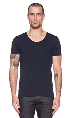 Scotch & Soda Classic Cotton Lycra Crewneck Tee in Navy