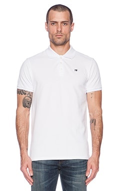 Scotch & Soda Classic Garment Dyed Pique Polo in White
