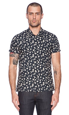 Scotch & Soda Short sleeve Crispy Crincle Shirt in in Black