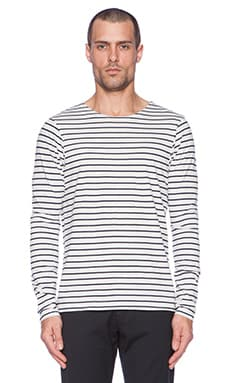 Scotch & Soda Printed Long sleeve Stripes Tee in Black White