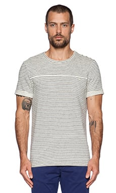 Scotch & Soda Shortsleeve Crewneck Tee in White Black