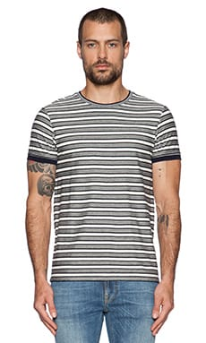 Scotch & Soda Structured S/S Tee in Navy White