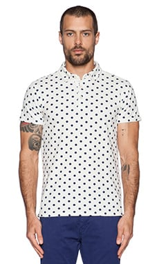 Scotch & Soda Printed Polka Dot Polo in White Navy
