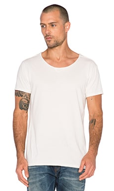 Scotch & Soda Home Alone Short Sleeve Tee with Twisted Seams in White