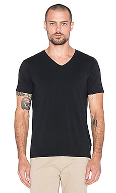 Scotch & Soda Classic Cotton Lycra V Neck Tee in Black