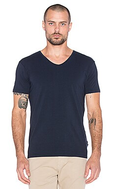 Scotch & Soda Classic Cotton Lycra V Neck Tee in Navy