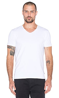 Scotch & Soda Classic Cotton Lycra V Neck Tee in White