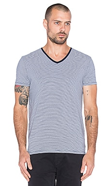Scotch & Soda Classic V-Neck Tee in Navy White