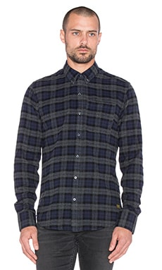 Scotch & Soda Brushed Long sleeve Shirt in Navy Grey