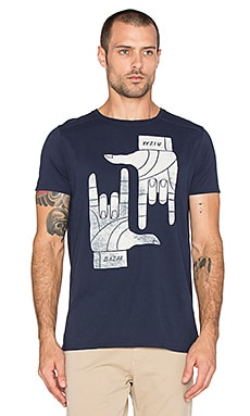 Scotch & Soda Shortsleeve Crewneck Tee with Graphical Artwork in Navy