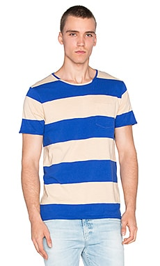 Scotch & Soda 1 Pocket Tee in Blue Ecru
