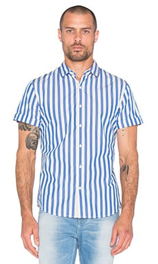 Scotch & Soda Short sleeve Shirt in Blue & White