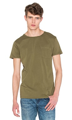 Scotch & Soda Crewneck Tee with Twisted Binding Collar in Military