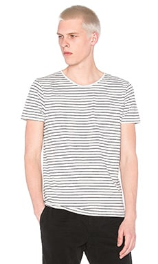 Scotch & Soda Classic Striped Crewneck Tee in Grey Melange