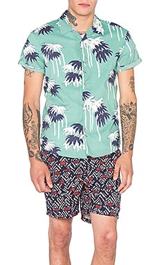 Scotch & Soda Hawaiian All Over Printed Shirt in Mint