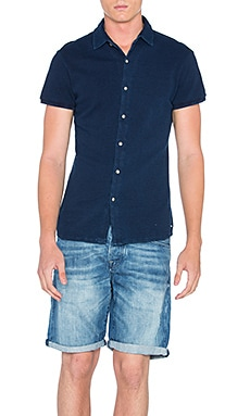 Scotch & Soda Shortsleeve Pique Shirt in Indigo