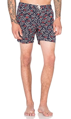 Scotch & Soda All Over Printed Swimshort in Navy & Red & White
