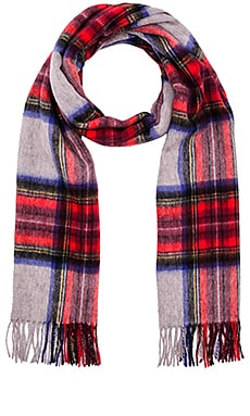 Scotch & Soda Multicolour Check Scarf with Fringes in Red Grey