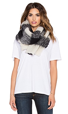Scotch & Soda Brushed Chunky Scarf in Multicolour Checks in Black White
