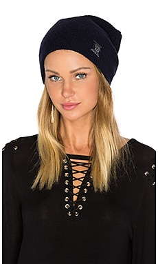 Classic Double Rib Knit Beanie in Navy Melange