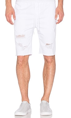 Stampd Distressed Denim Short in Off White