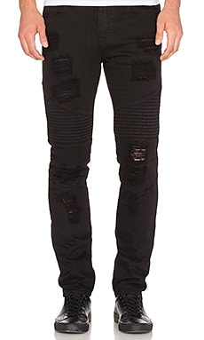Stampd Distressed Moto Denim in Black