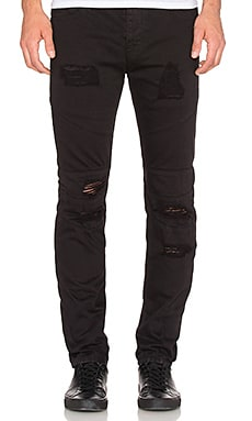 Stampd Distressed Panel Denim in Black