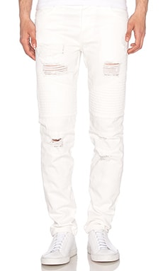 Stampd Moto Repaired Denim in Off White