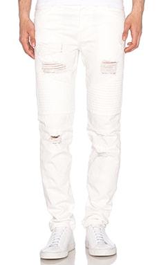 Moto Repaired Denim in Off White