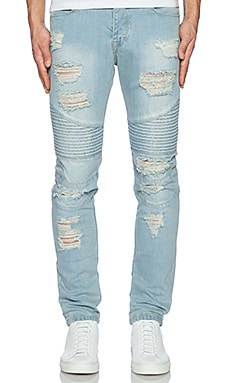 JEAN SLIM DISTRESSED MOTO