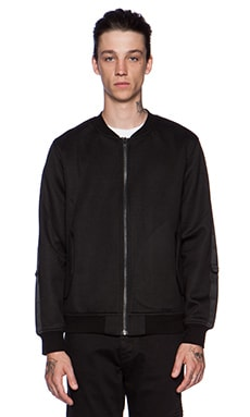 Stampd Neoprene Sleeve Strap Bomber Jacket in Black