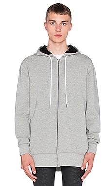 Stampd Elongated Neoprene Zip Up in Grey