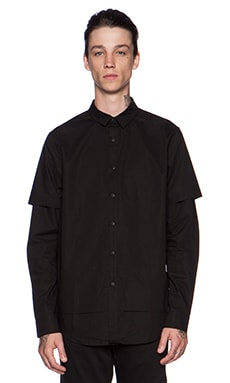 Stampd Double Layer Button Down in Black