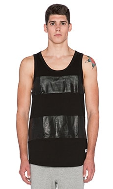 Stampd Perforated Leather Panel Tank in Black