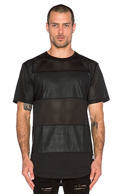 Stampd Leather Mesh Panel Tee in Black