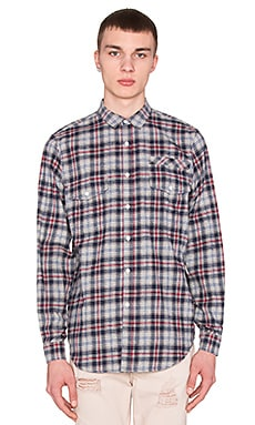 Stampd Plaid Flannel Button Down in Navy