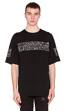 Stampd 3/4 Sleeve Carrara Print Tee in Black