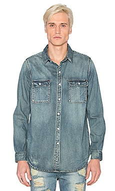 Stampd Distressed Denim Button Down in Indigo